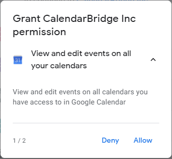 Google sign in permissions request 1