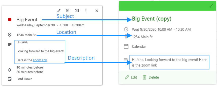 Creation of an event copy with subject, location, and description
