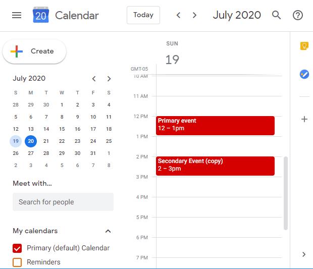Gmail calendar synced to Gsuite calendar via CalendarBridge