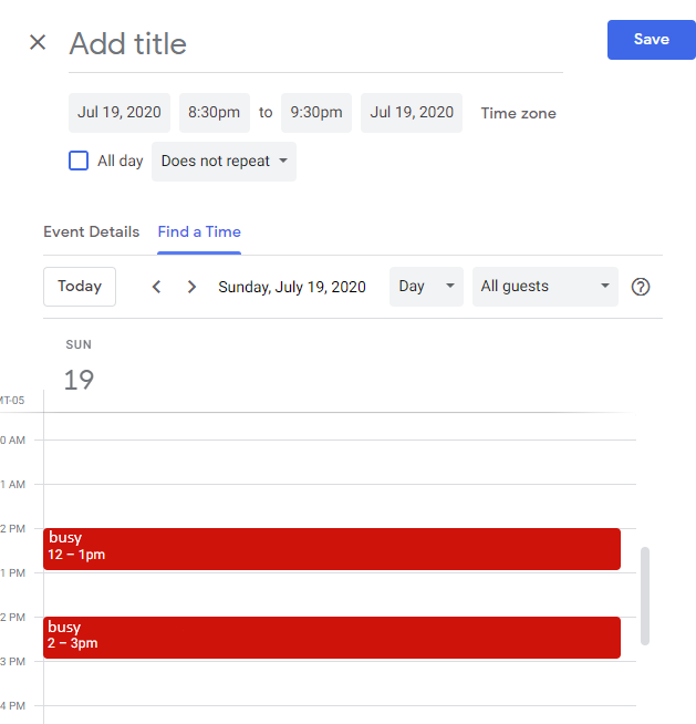 """CalendarBridge sync results in accurate availability in Google """"find a time"""""""