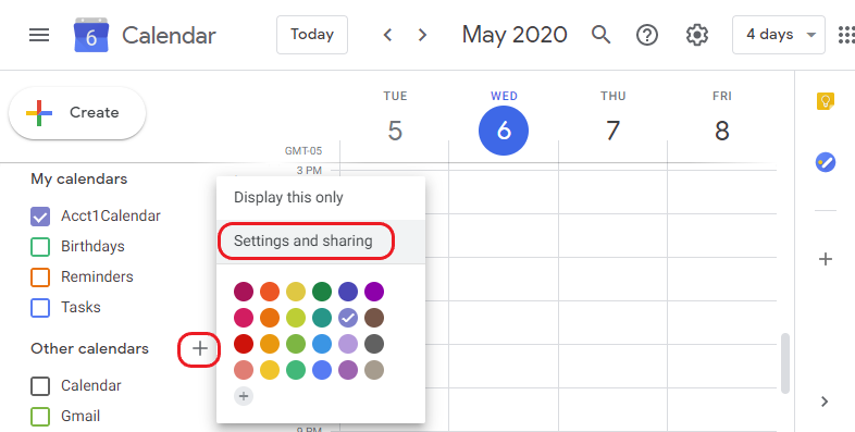 Google calendar settings and sharing menu