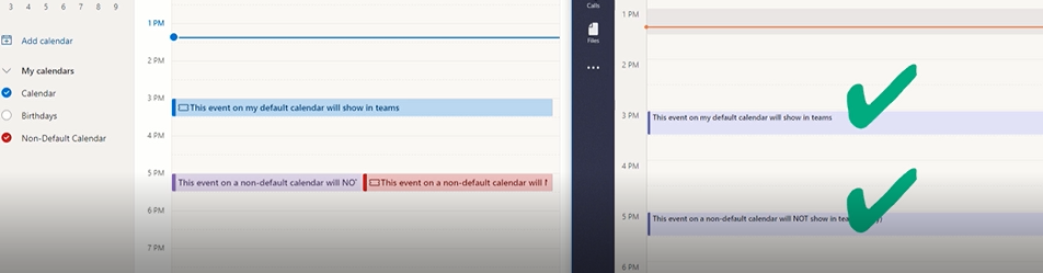 After syncing with CalendarBridge, both Outlook Calendars show on Teams Calendar