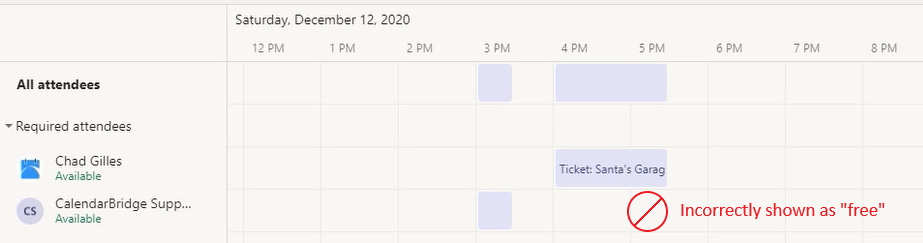 Microsoft Teams Scheduling Assistant does not account for other Outlook calendars