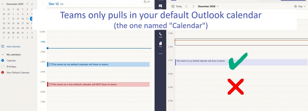 Microsoft Teams Calendar Shows Only the Default Outlook Calendar